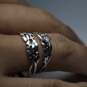 PAR DE Alianças de Compromisso Oliveira prata 950