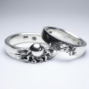 PAR DE Alianças de Compromisso Sun e Moon prata 950