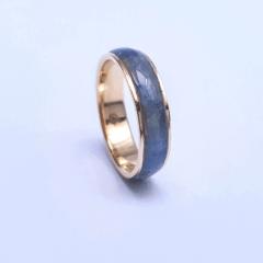 Anel Inlay Cianita Azul 5mm Ouro 18k