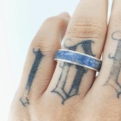 Anel Inlay Cianita Azul 5mm Prata 950