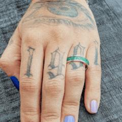anel inlay malaquita 5mm prata950