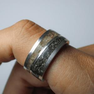 Anel Inlay Pirita e CItrino Prata 950