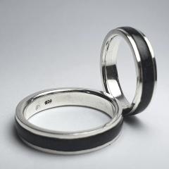 PAR DE Alianças de Compromisso INLAY TURMALINA 5MM Prata 950