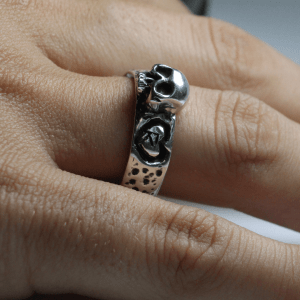 PAR DE Alianças de Compromisso Skull Love Custom Prata 950